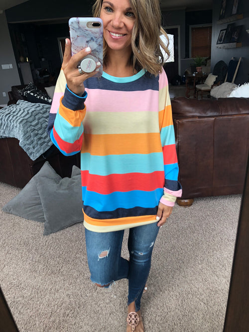 Under The Rainbow Striped Long Sleeve
