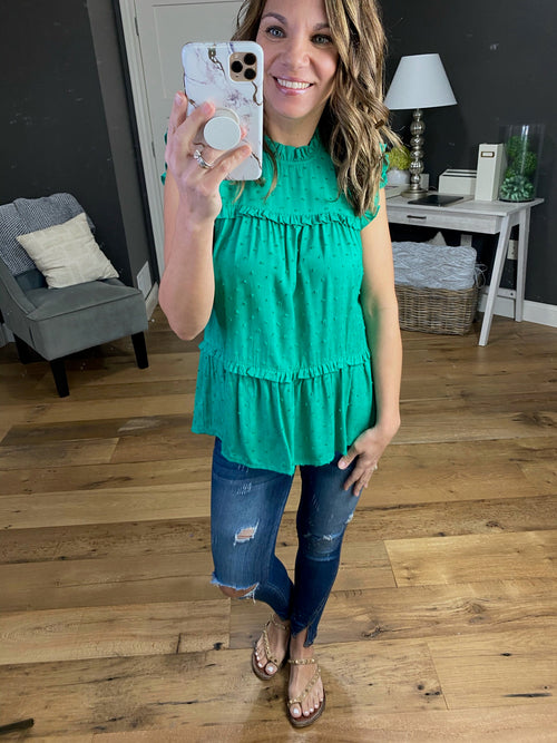 Need Me Now Green Swiss Dot Peplum Tank with Ruffles & Pleats
