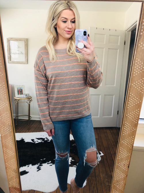 Can't Stop The Girl Taupe and Peach Stripe Crew Sweater With Exposed Seams