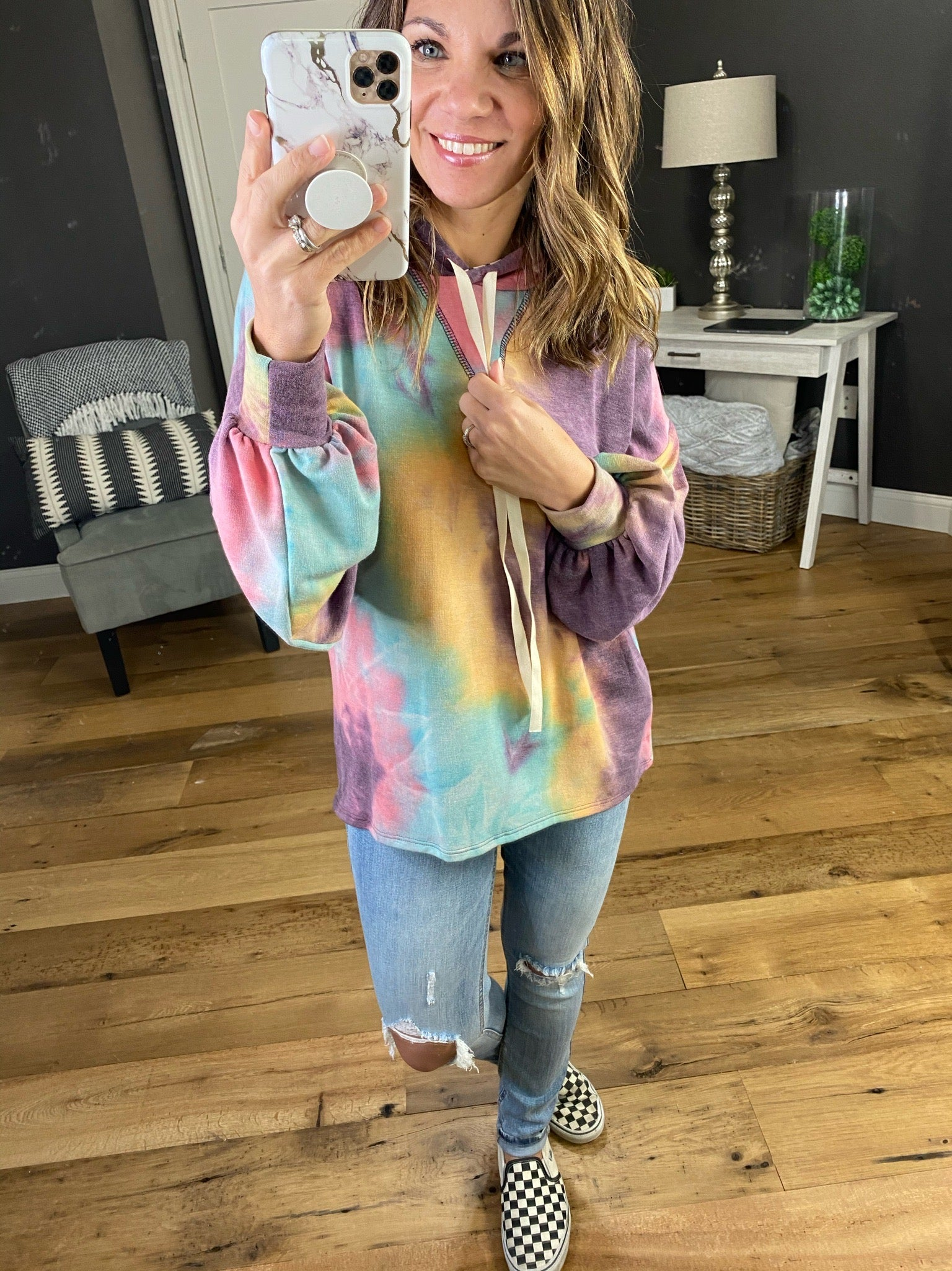 Sunset Tie Dye Hoodie with Balloon Sleeve- Multiple Options