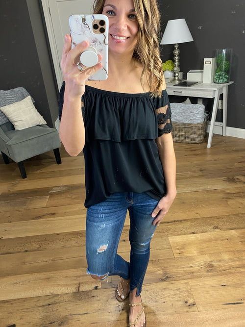 Sunroof Open Black Off Shoulder Top with Lace Details