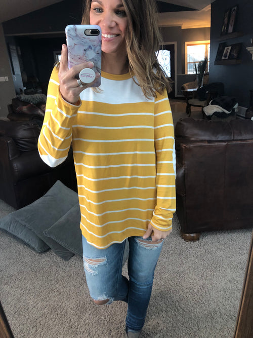 In All The Right Directions Yellow and Ivory Long Sleeve