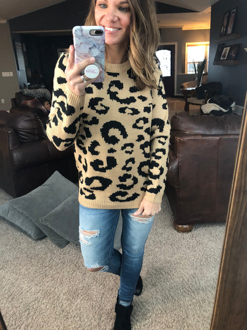 Up For Anything Tan Leopard Sweater
