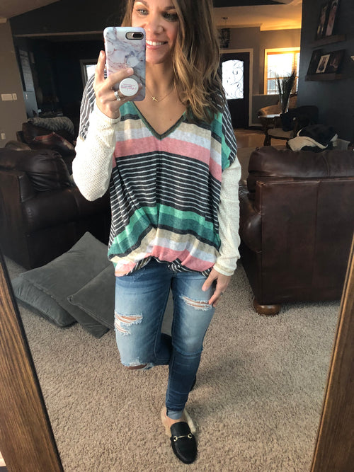 To Be Told Striped V Neck Front Twist Long Sleeve- Multi Color
