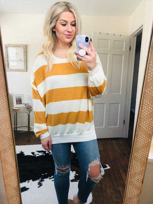 Weekend Girl Mustard and Cream Striped Crew Sweatshirt