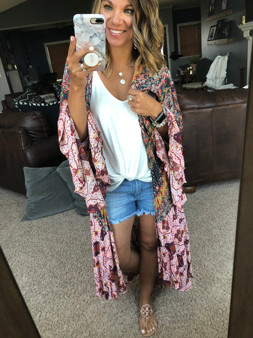 A Thing Called Love Floral Mix Long Sleeve Kimono
