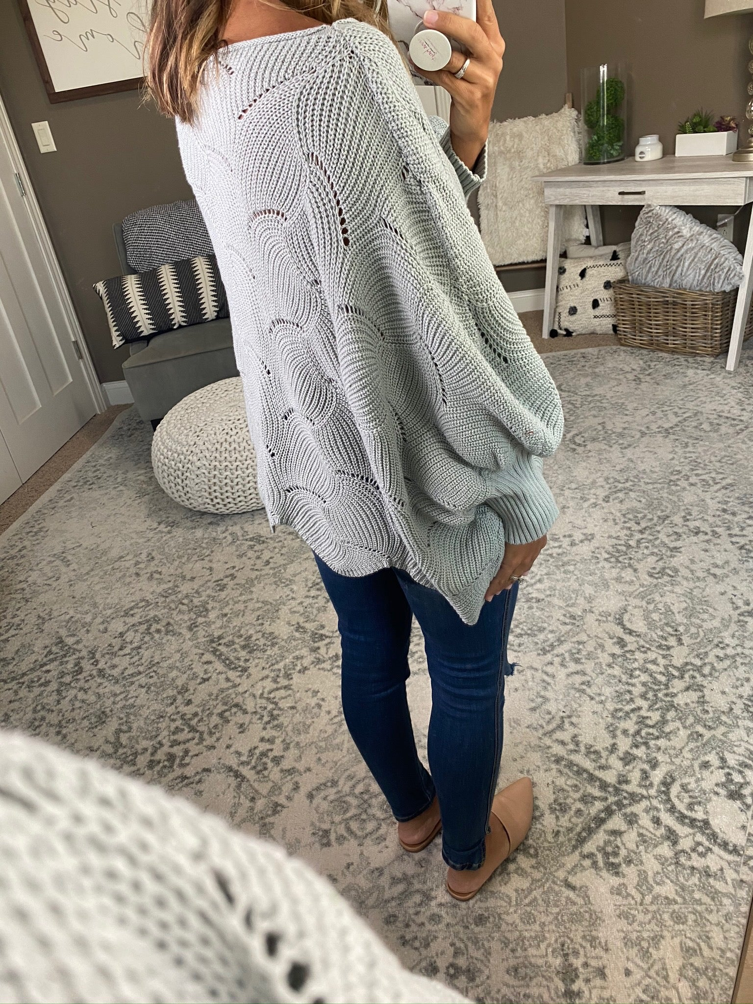 Out Of Love Scalloped Knit Boxy Dolman Sweater--Multiple Options
