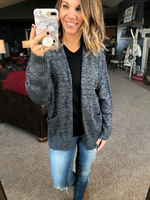Feel At Home Open Front Heathered Cardigan- Charcoal