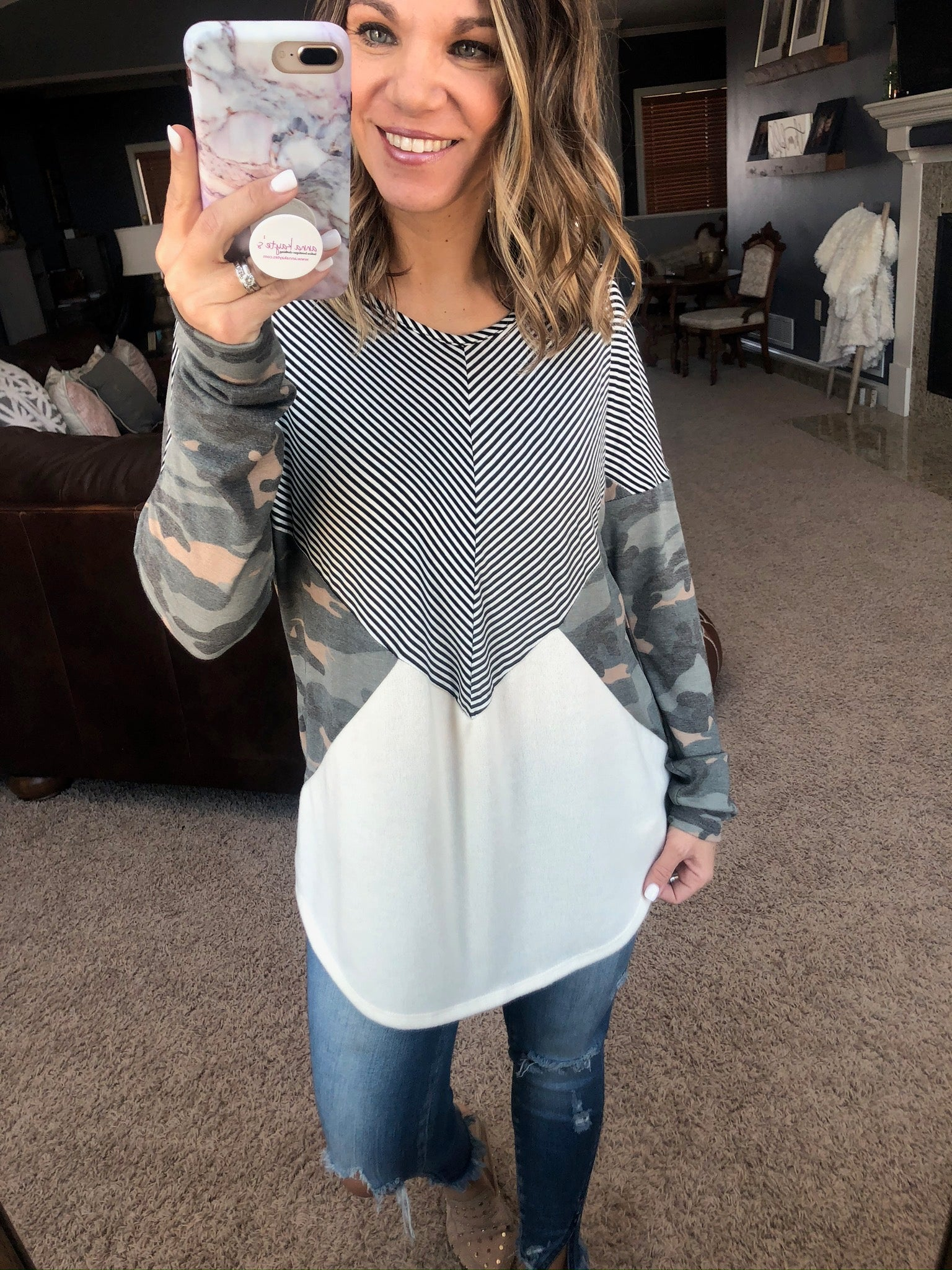 Charm The Crowd Camo, Ivory and Stripe Colorblock Long Sleeve