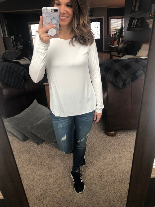 Have You On Speed Dial Basic Long Sleeve Raw Hem Long Sleeve Top - Ivory