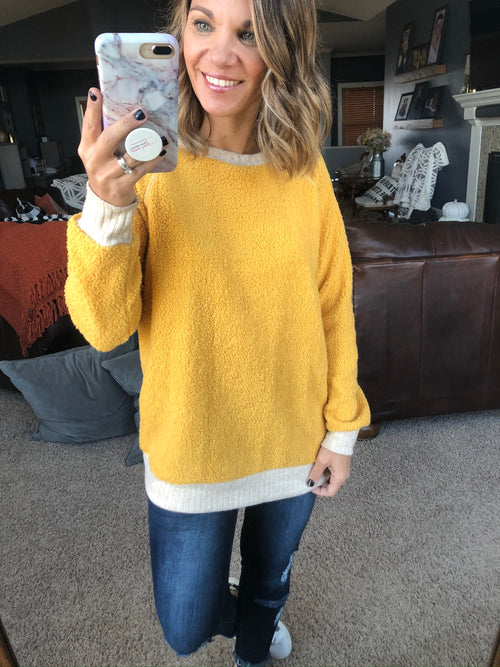Finally Found You Mustard and Cream Crew Neck Long Sleeve