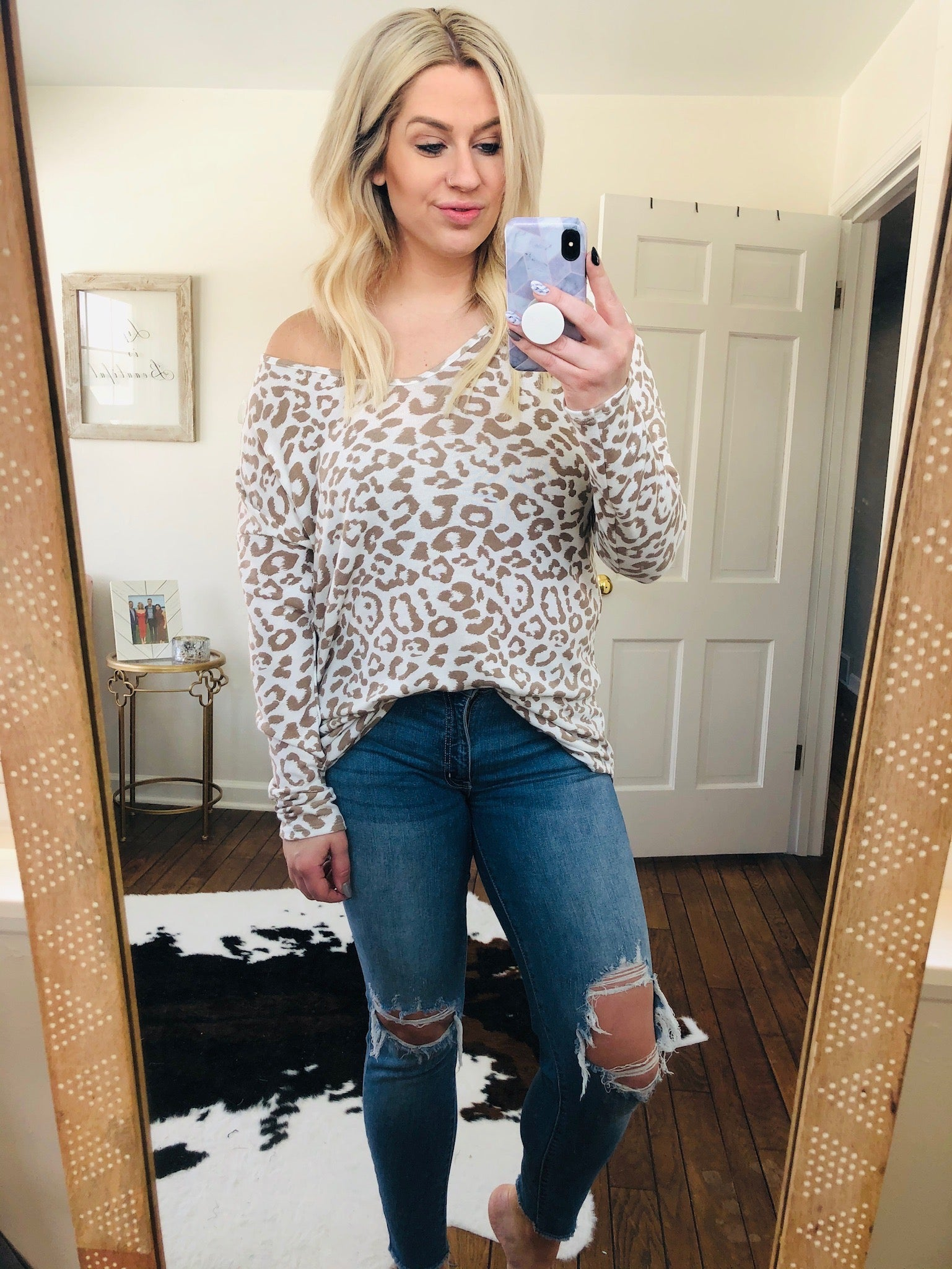 Like A Dream Ivory And Taupe Leopard V-Neck Long Sleeve