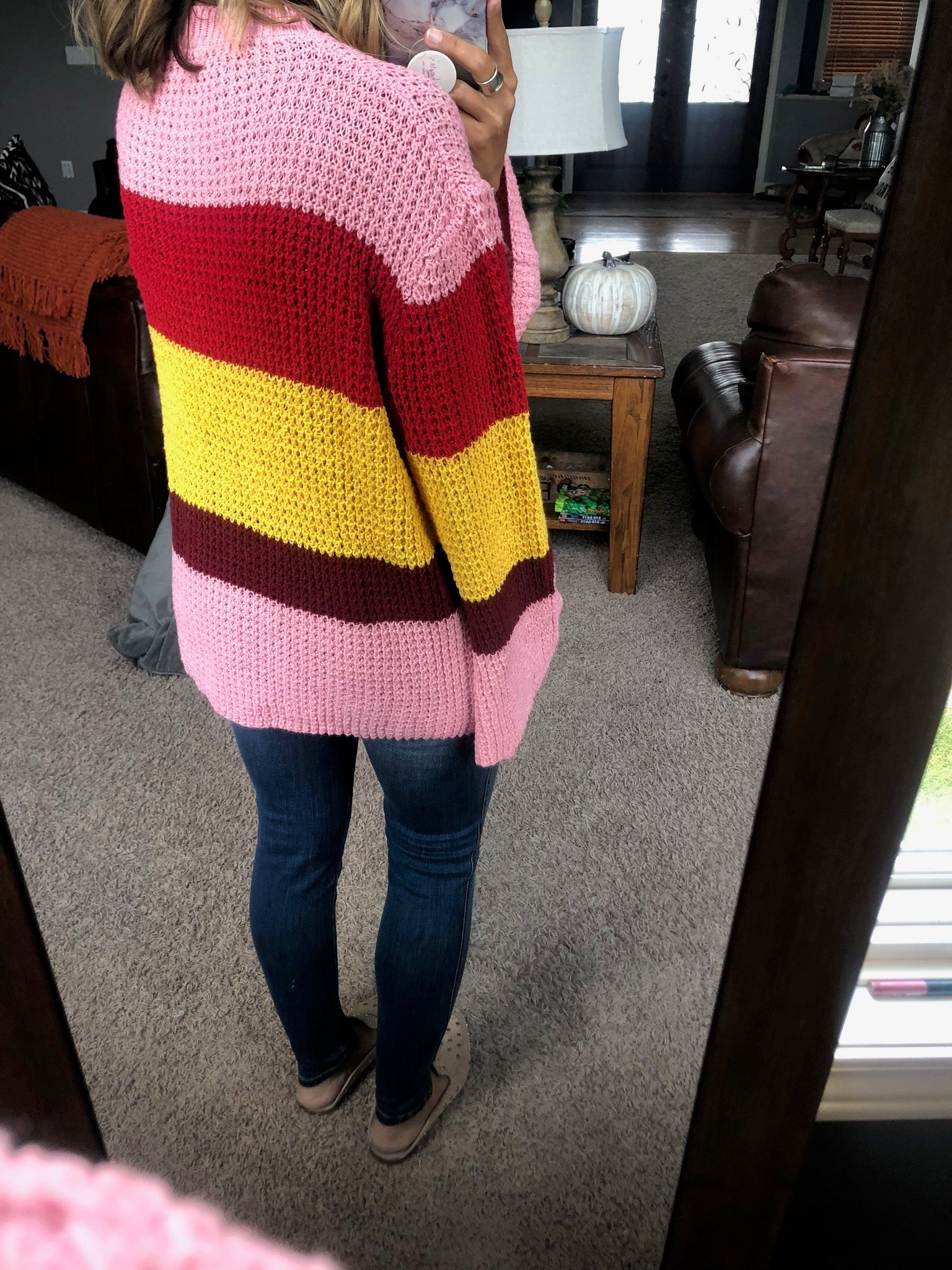 Candy Shop Yellow, Pink, Red Colorblock Knit Sweater with Bell Sleeve