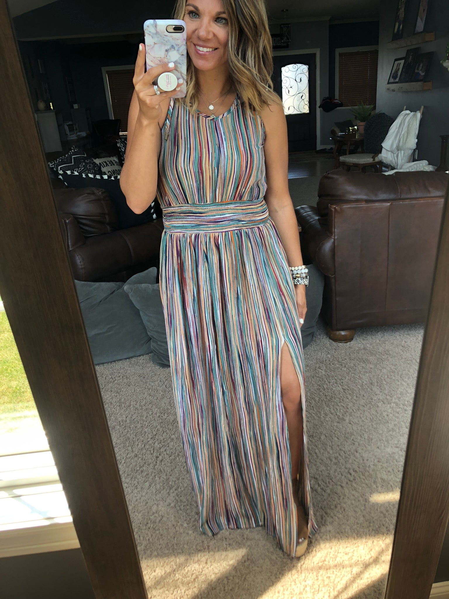 The Places You'll Go Multi-Print Smock Waist Maxi Dress with Keyhole Back Detail
