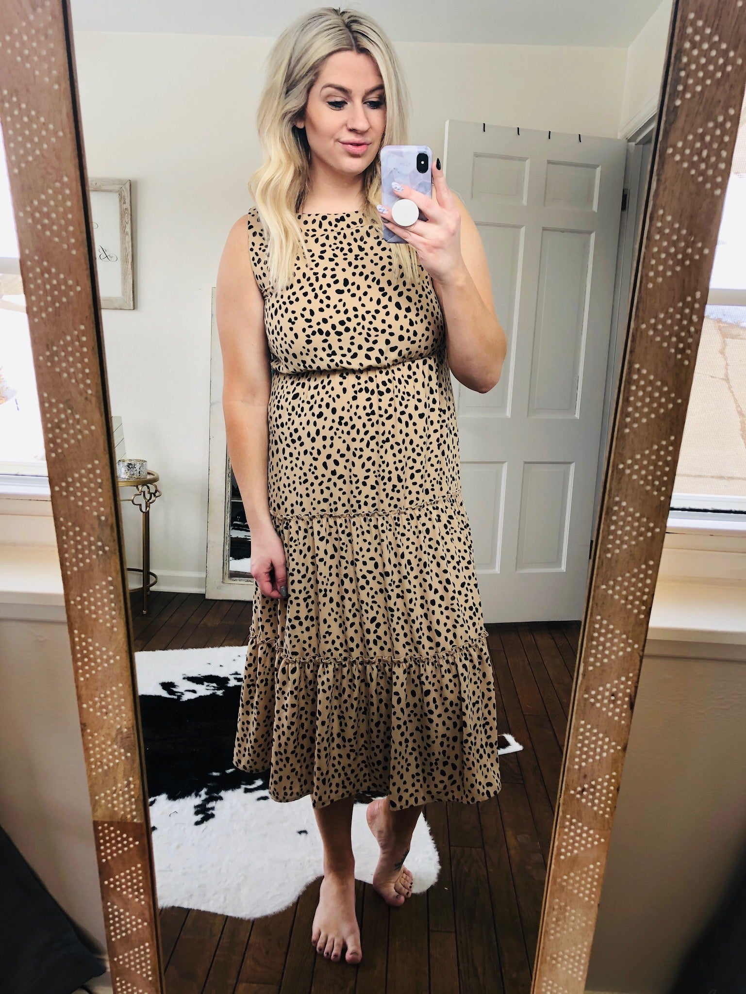 Fancy Seeing You Tan with Black Spots Maxi Tiered Dress