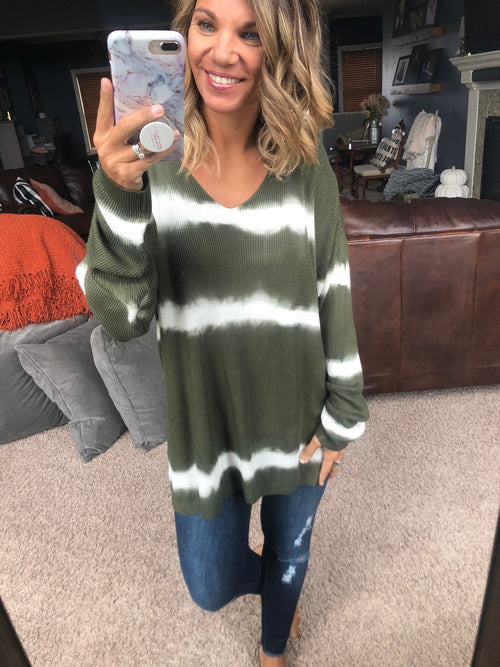 Take My Advice Dip Dye Ribbed Long Sleeve - Olive/Ivory