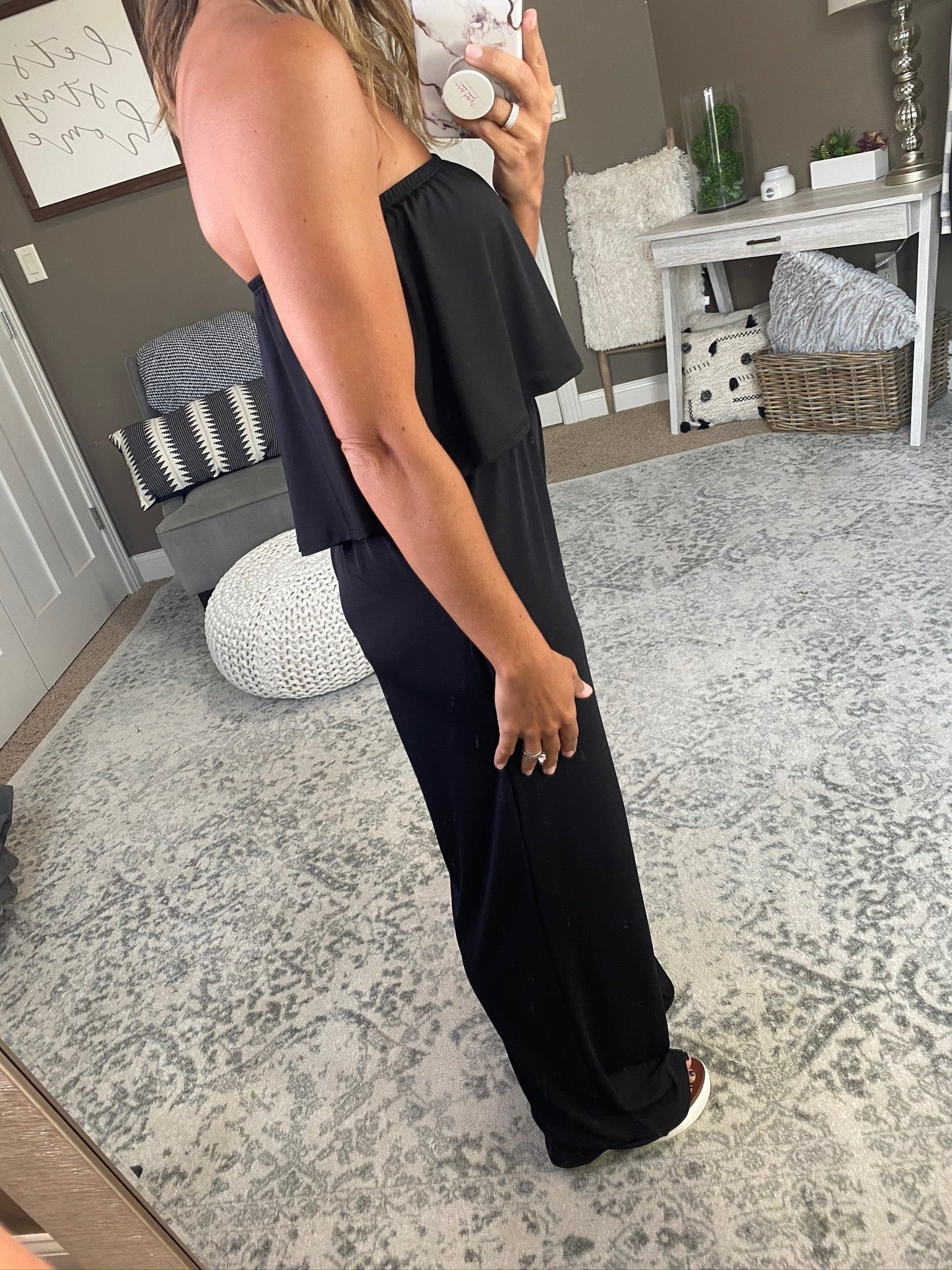 Don't Tempt Me Black Flowy Top Strapless Jumpsuit
