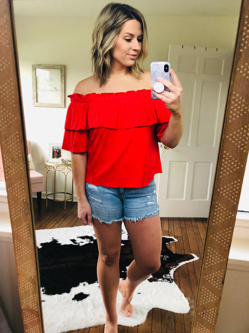 Speak With Love Off Shoulder Ruffle Top - Red