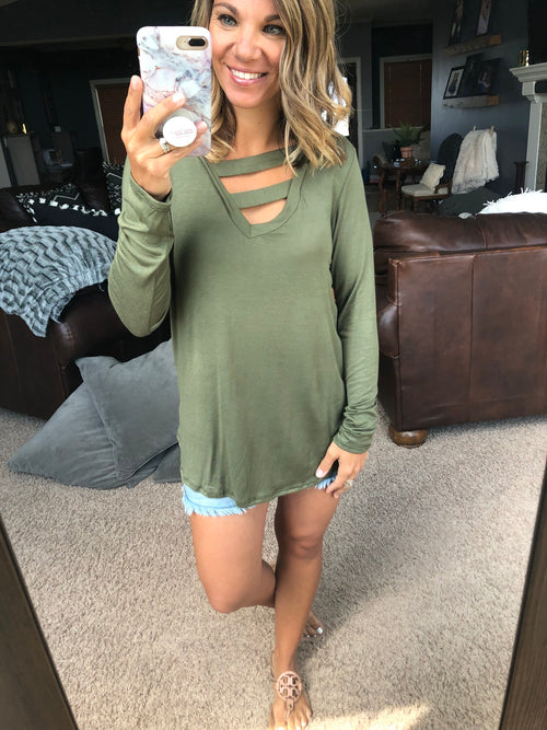 I Need More Double Strap Long Sleeve Top - Olive