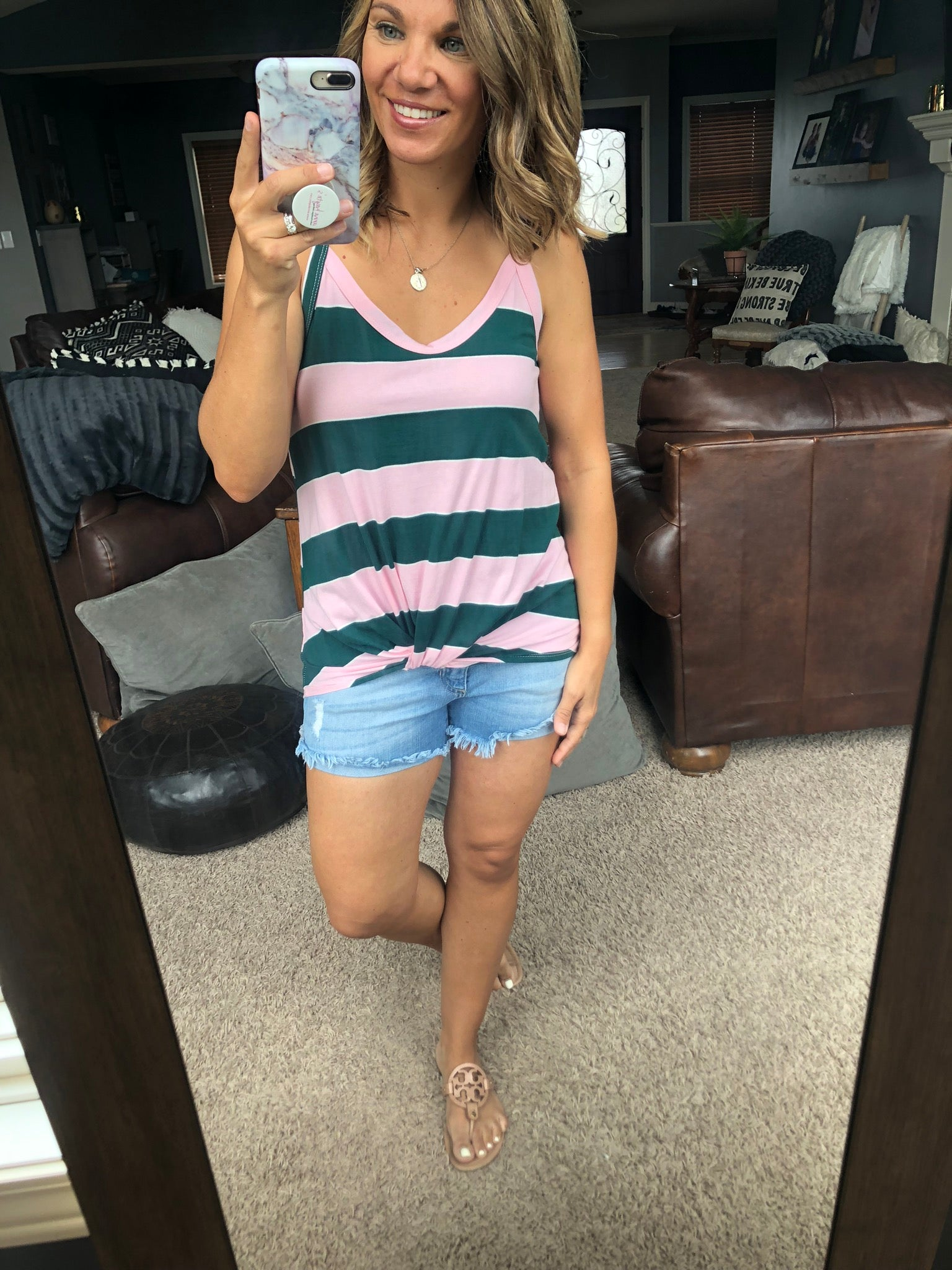 Out of Love Green/Pink Striped Tank w/ Front Twist