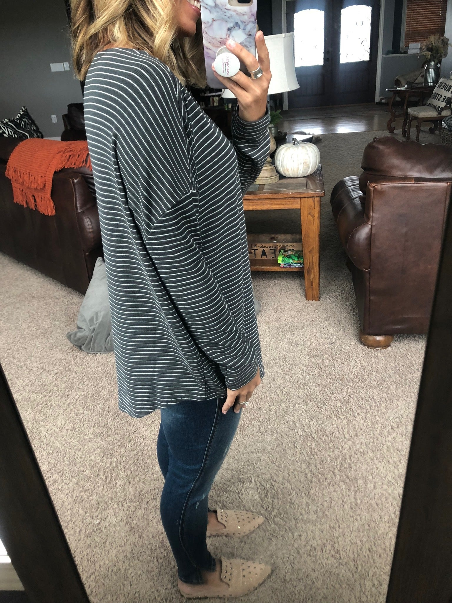 Stripe That Down Oversized Long Sleeve- Charcoal and Ivory
