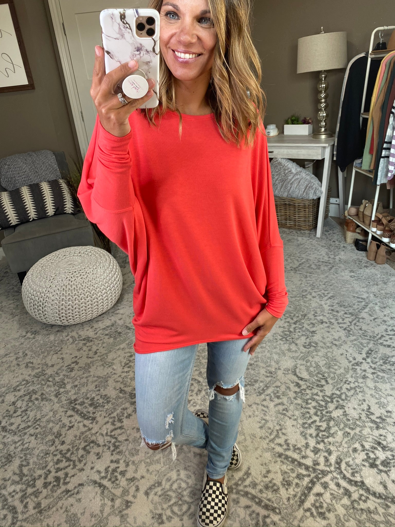 What She Wants Asymmetrical Dolman Long Sleeve- Red