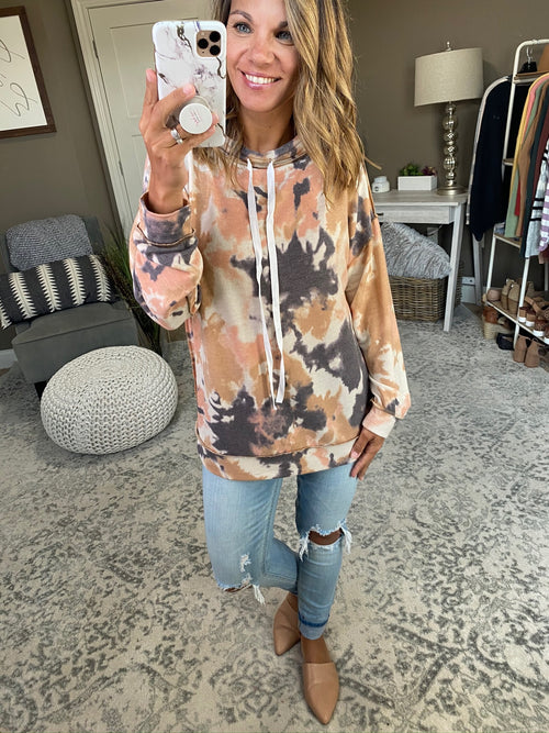 No Secrets Here Mock Neck Beige and Charcoal Tie Dye Long Sleeve