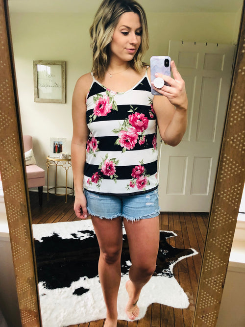 Time To Confess Stripes & Floral Criss Cross Cami