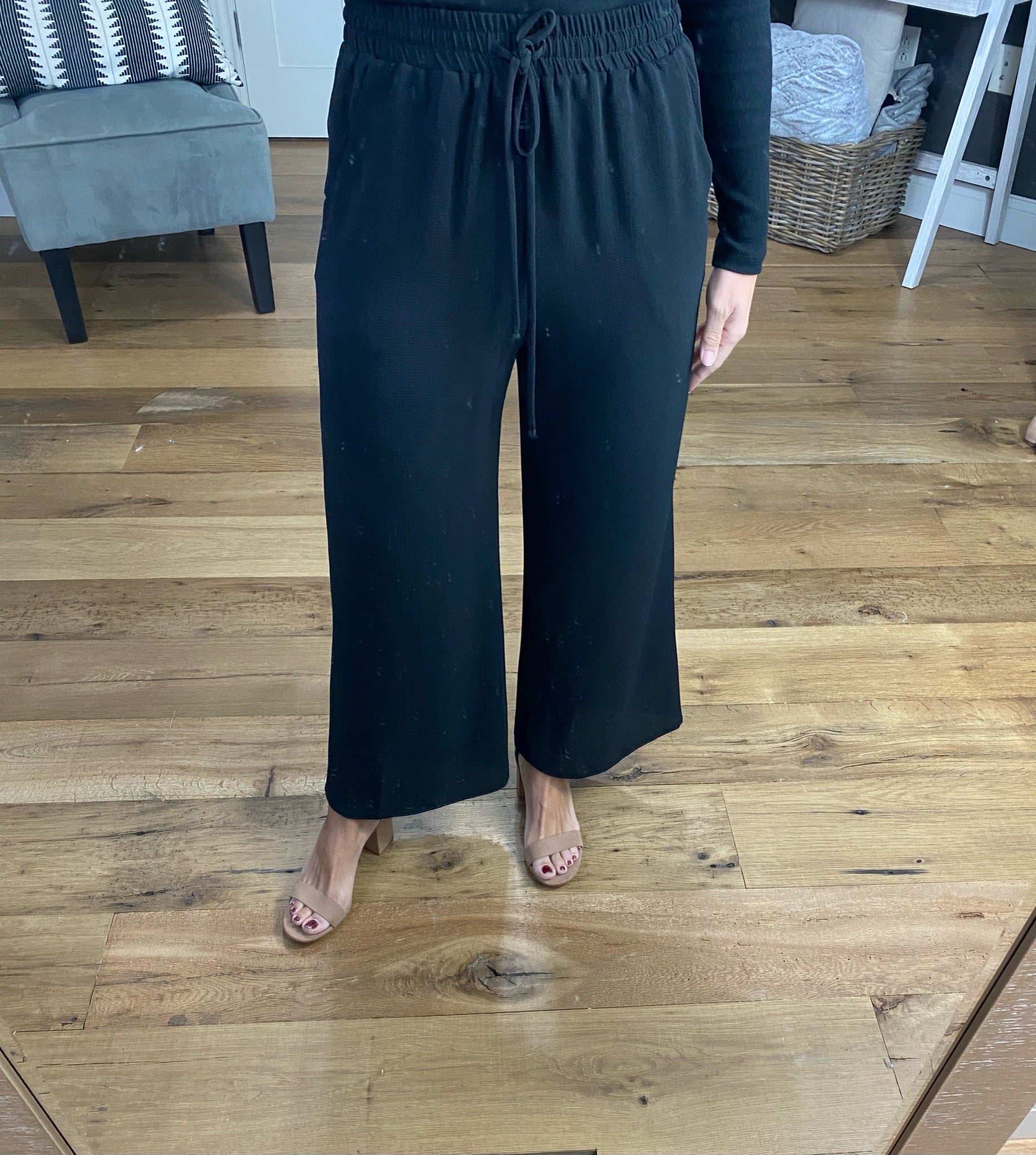 In The Office Black Textured Cropped Wide Leg Pants