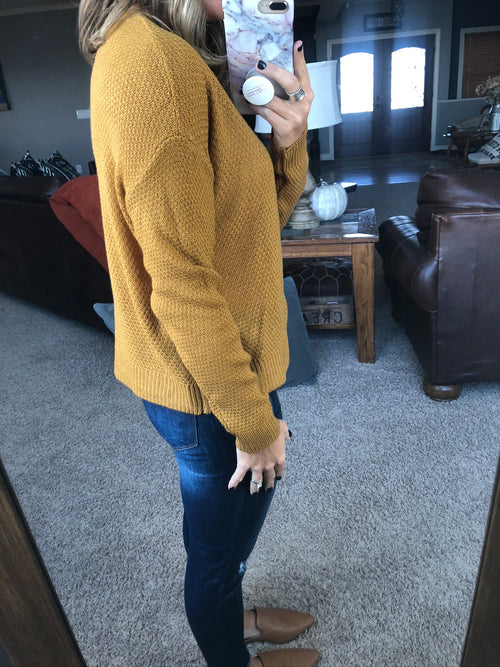 Figure Everything Out Classic Knit Crewneck Sweater- Marigold