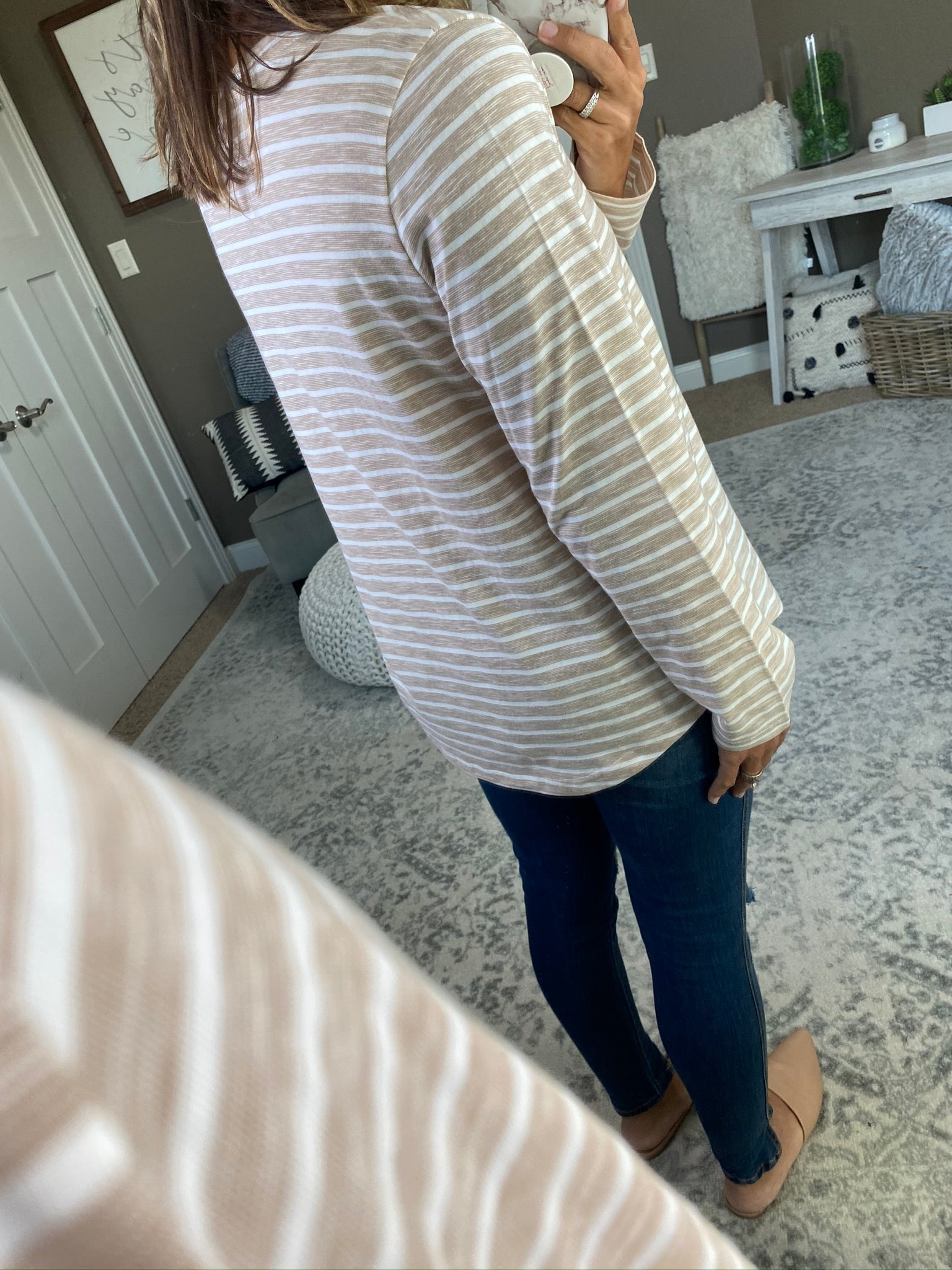 Chasing' You Striped V Neck Long Sleeve- Beige & White
