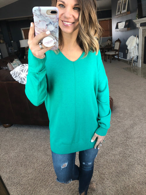 I Think I'm In Love Buttersoft V-Neck Exposed Seam Sweater-Ocean