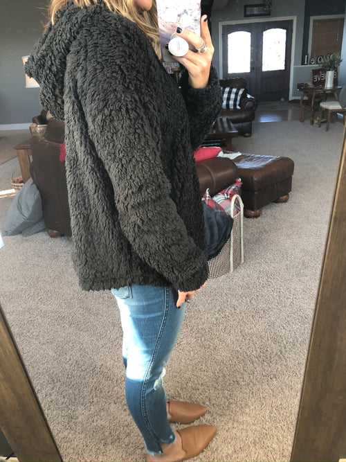 Over The Top Black  Sherpa Hoodie