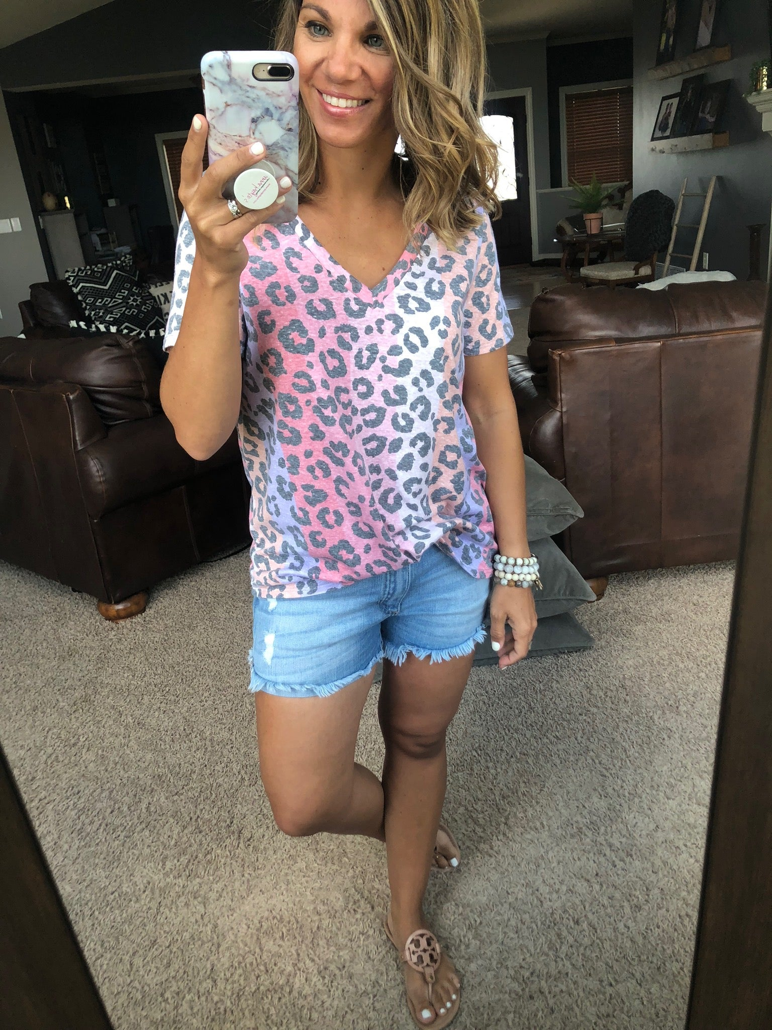 Wild About You Pink Multi Cheetah Print V-Neck Tee