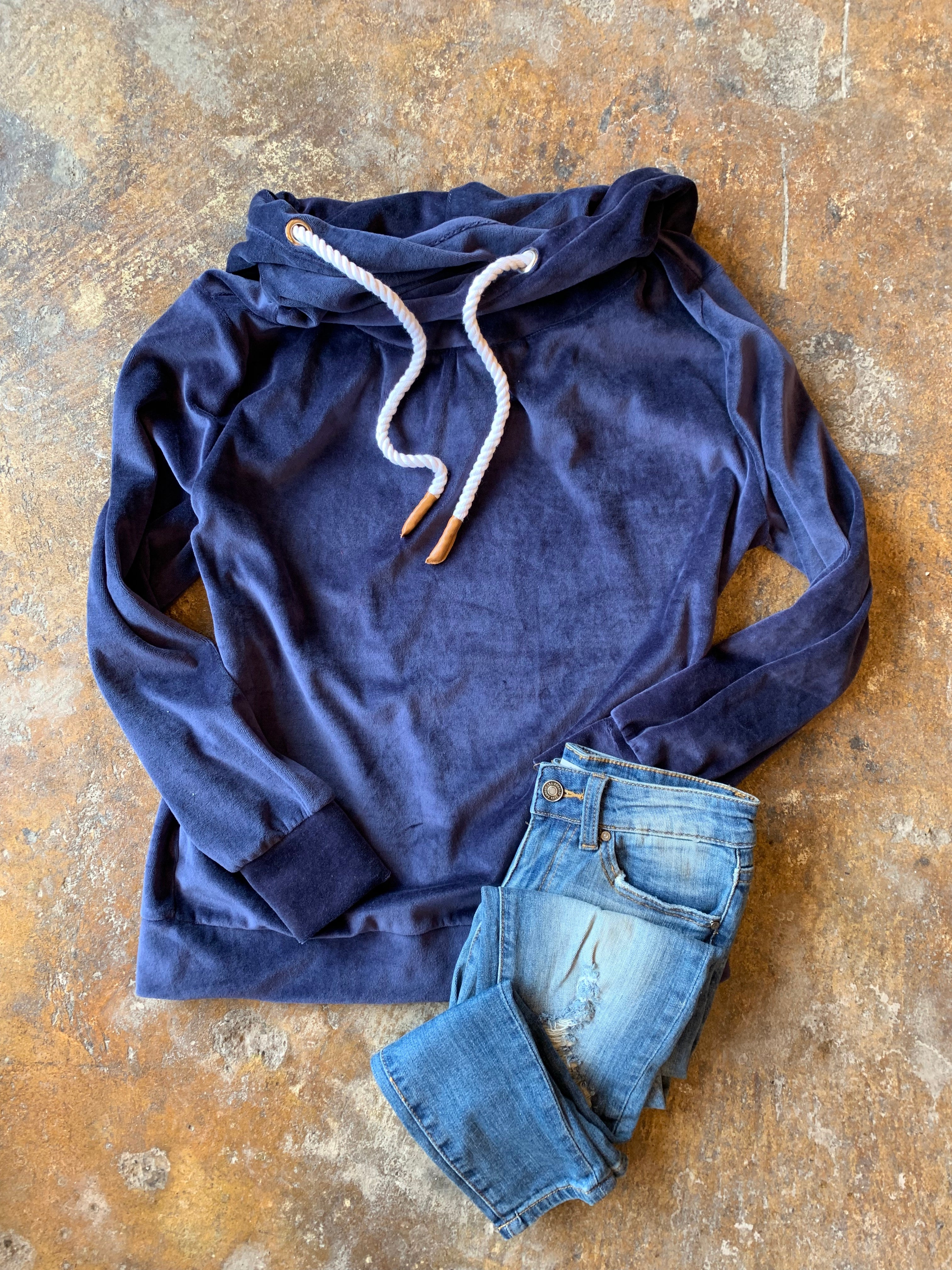 Sitting By The Fire Crushed Velvet Hoodie - Royal Blue