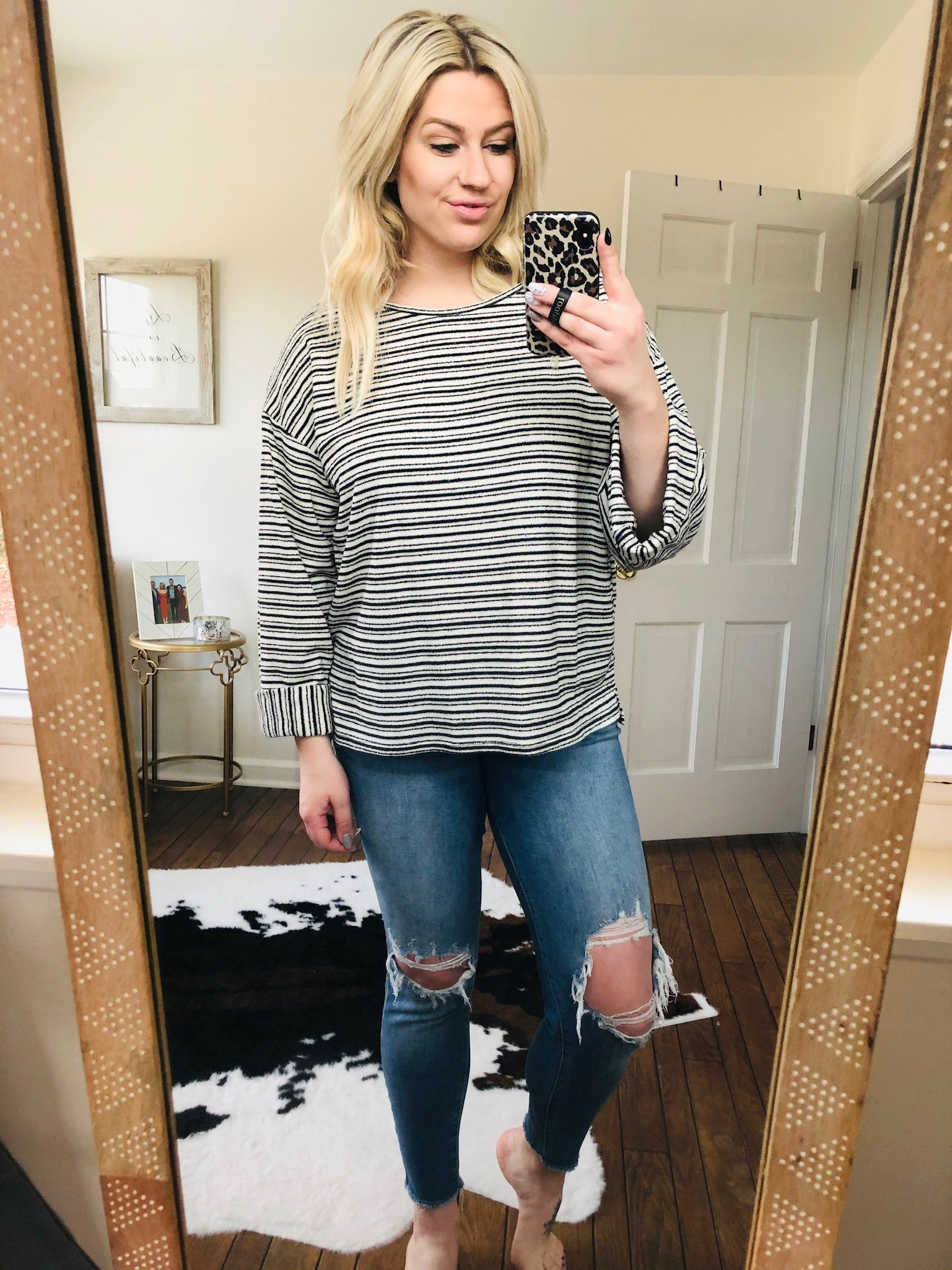 Little Moments Striped Sweater with Cuffed Sleeves