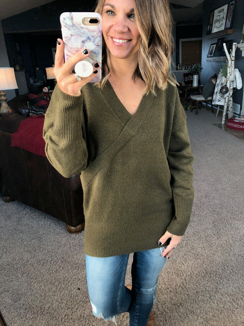 Wrap It Up Faux Wrap Knit Sweater- Deep Olive