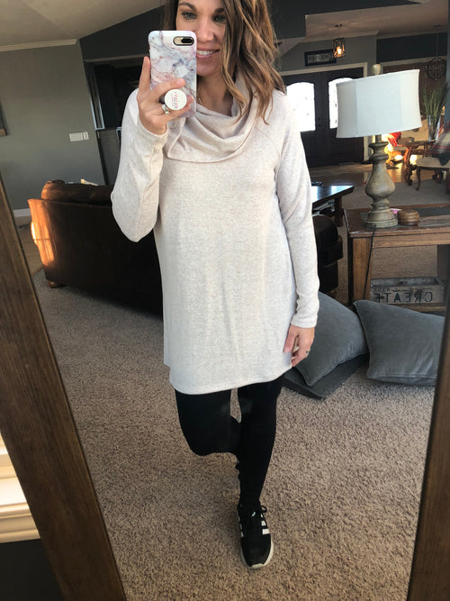 Don't Let This Pass By Loose Fit Cowl Neck Long Sleeve - Taupe
