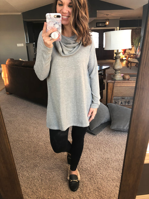 Don't Let This Pass By Loose Fit Cowl Neck Long Sleeve - Heather Grey
