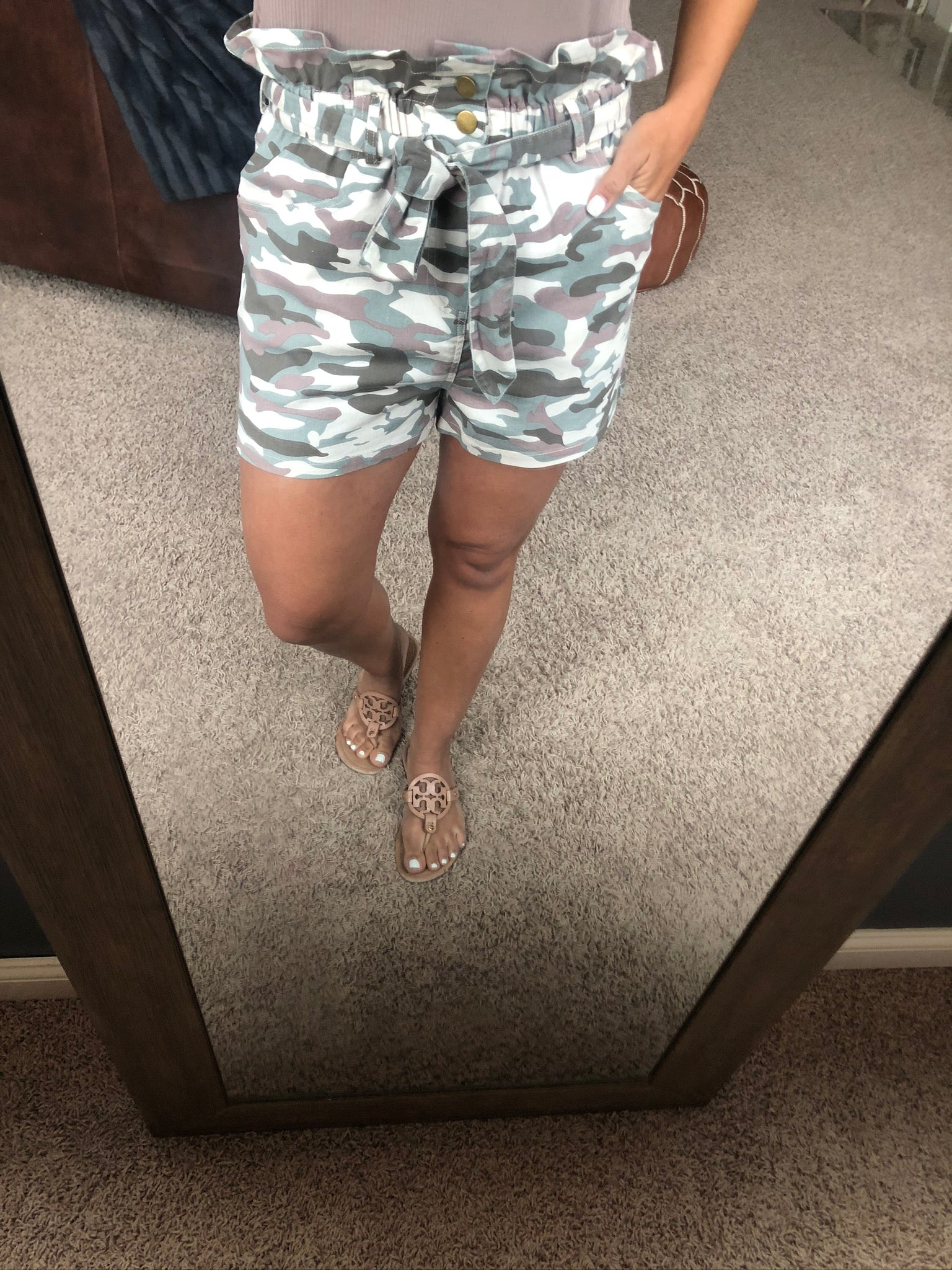 Camo Cadet Paper Bag Shorts