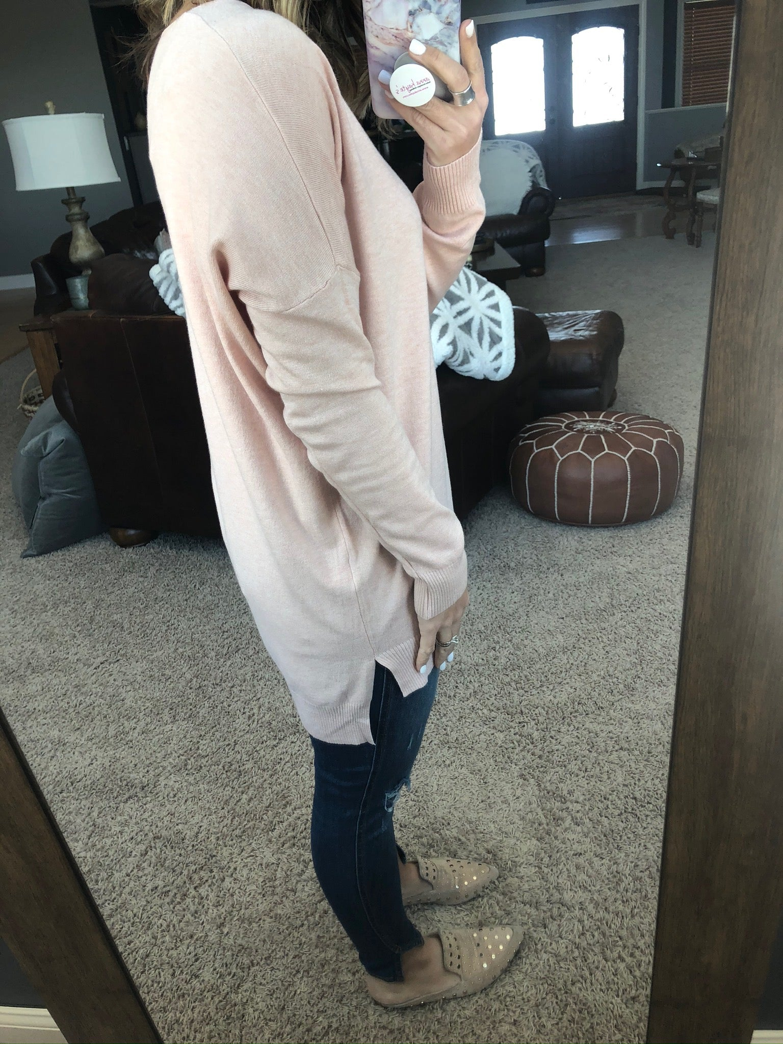 I Think I'm In Love Buttersoft V-Neck Exposed Seam Sweater- Pale Pink