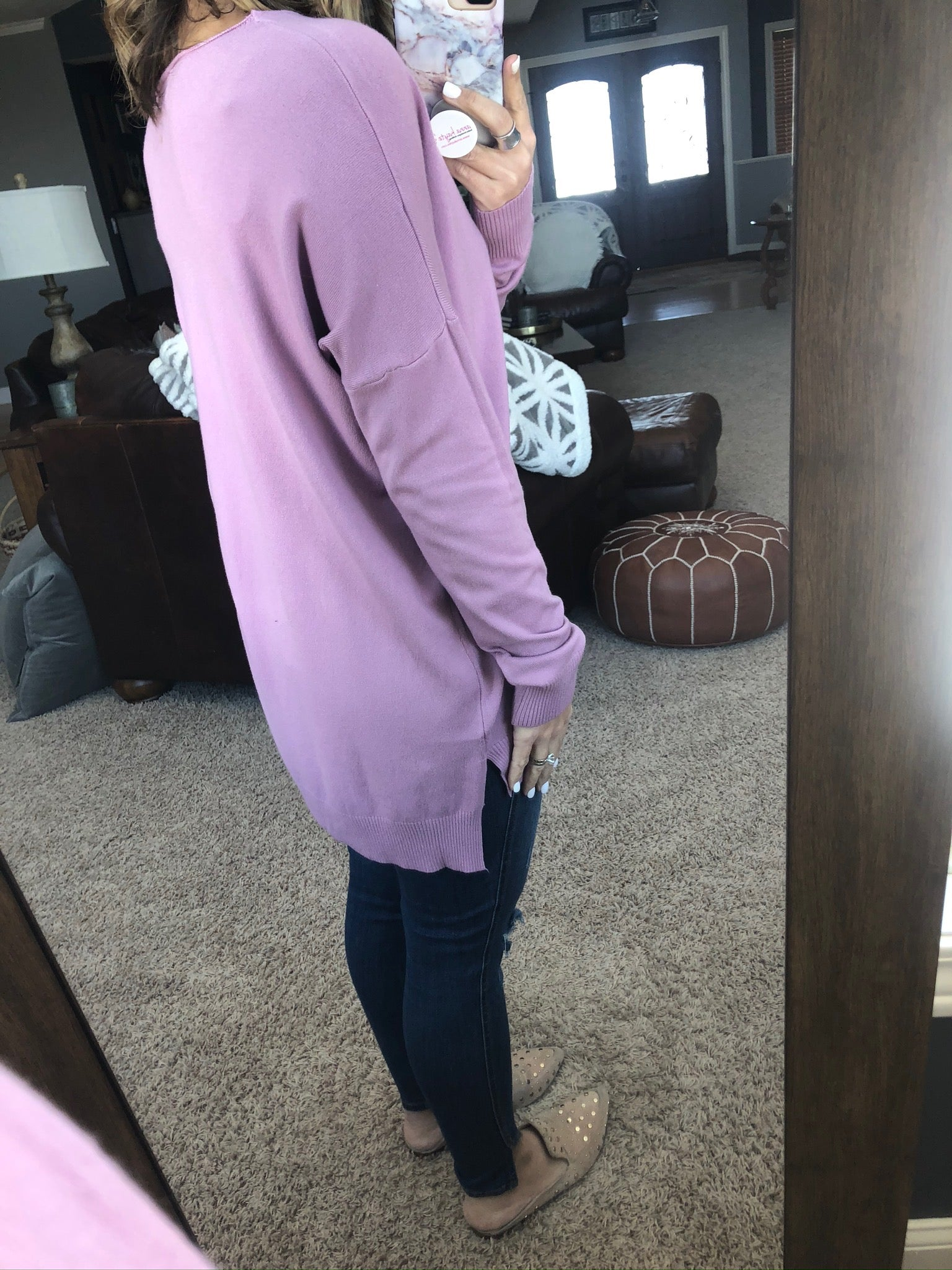 I Think I'm In Love Buttersoft V-Neck Exposed Seam Sweater- Lilac