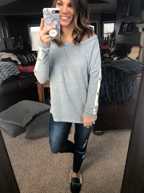 Cute As A Button Brushed Fleece Long Sleeve- Heather Grey