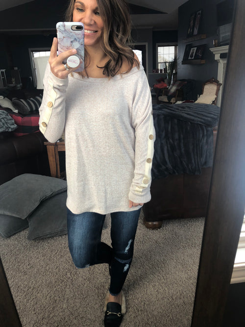 Cute As A Button Brushed Fleece Long Sleeve- Oatmeal