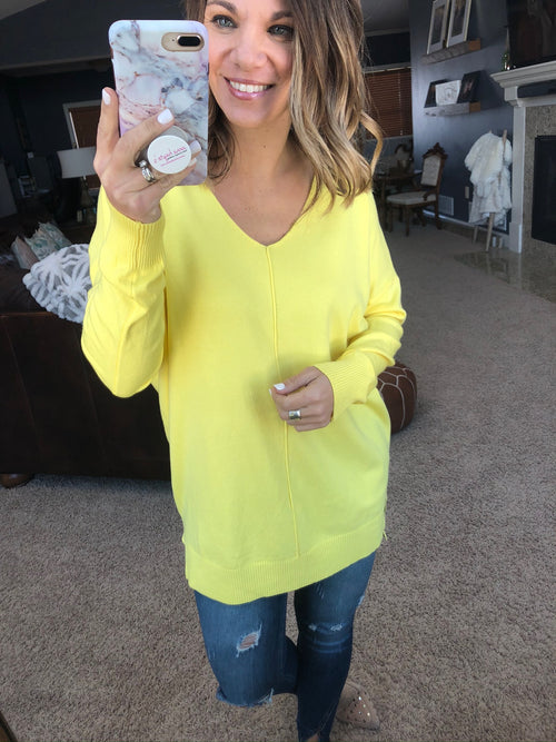 I Think I'm In Love Buttersoft V-Neck Exposed Seam Sweater- Sunshine