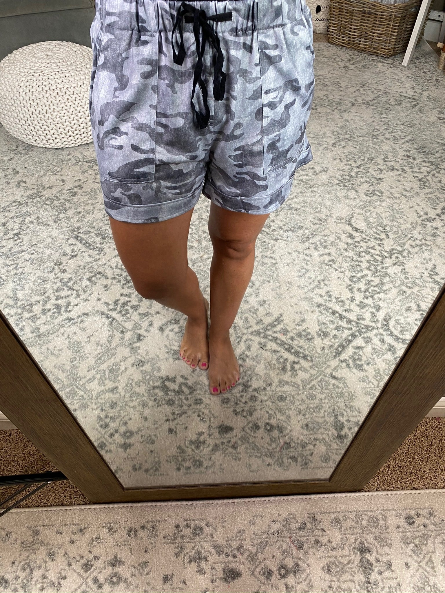 Make This Leap Grey Camo Shorts With Pockets