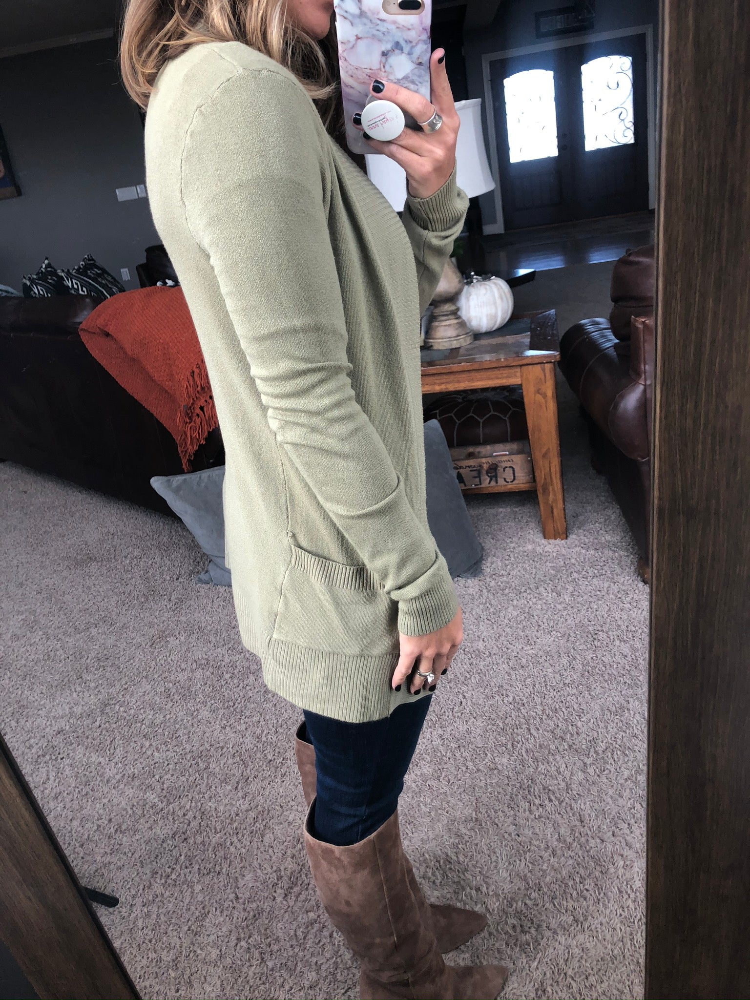 Anything For Love Light Sage Open Front Cardigan with Pockets