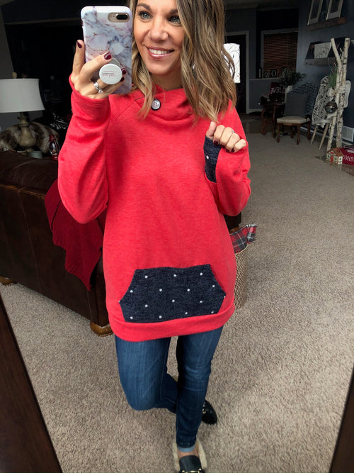 Yule Be Jolly Red Hooded Sweatshirt with Navy and White Polka Dot Detail