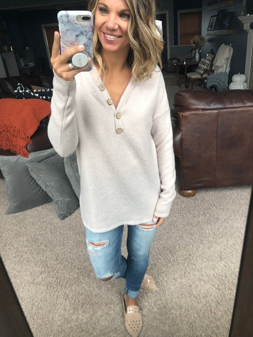 How Lucky Am I Solid Knit V-Neck Sweater With Button Detail- Cream