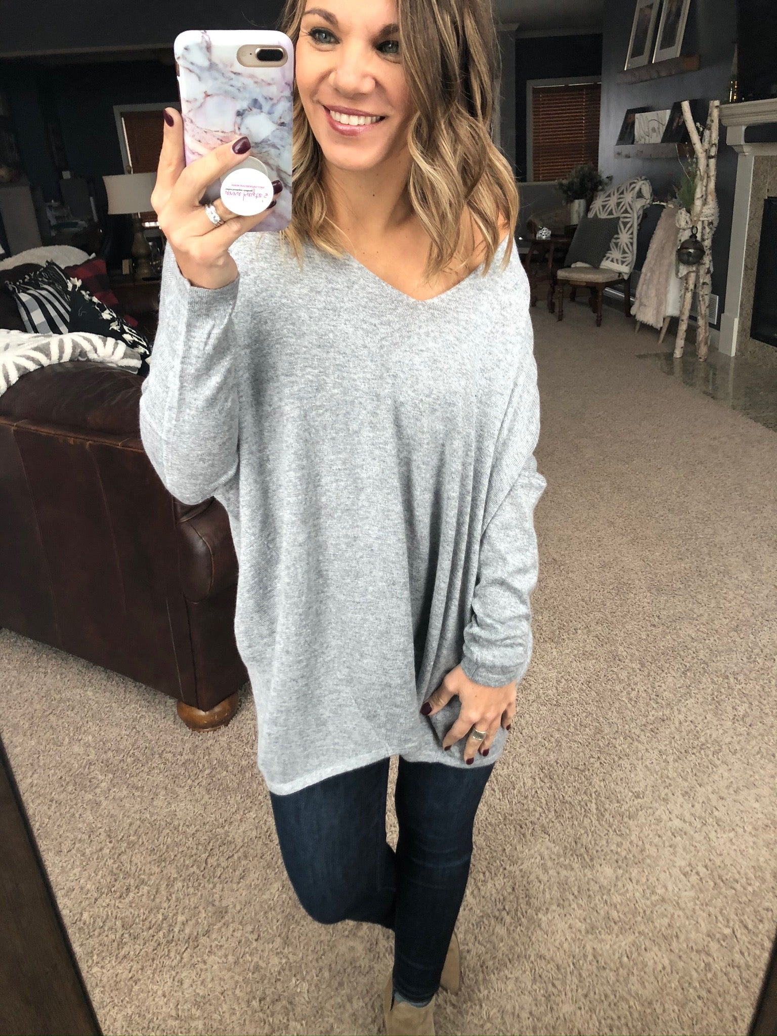Double Trouble Heather Grey Double V-Neck Sweater